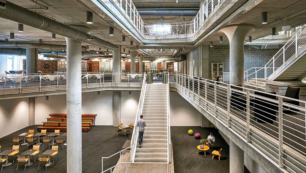 """Architecture firm Gensler used a """"digital twin"""" model to design an adaptable building in downtown Cincinnati with below- and above-ground parking levels, four office levels, and ground-floor retail. As the need for office space expands, the above-ground parking levels can be converted to that use. Photo ©Garrett Rowland, courtesy Gensler."""