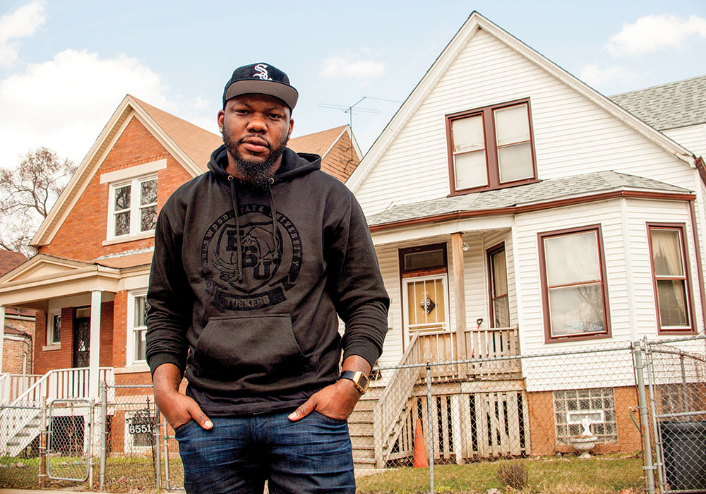 """Fifteen miles separate Maurice's (left) home in the 6400 block of South Hermitage in the Chicago neighborhood of Englewood, and his """"map twins,"""" Jon and Paula, who live on the 6400 North block on the same street in the mostly white neighborhood of Edgewater."""