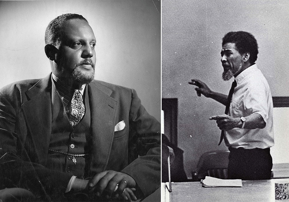 Horace Cayton, Jr. (left) in 1945 and St. Clair Drake in a 1970 yearbook photo. Photos courtesy Chicago Public Library, Vivian G. Harsh Research Collection, and Stanford University.