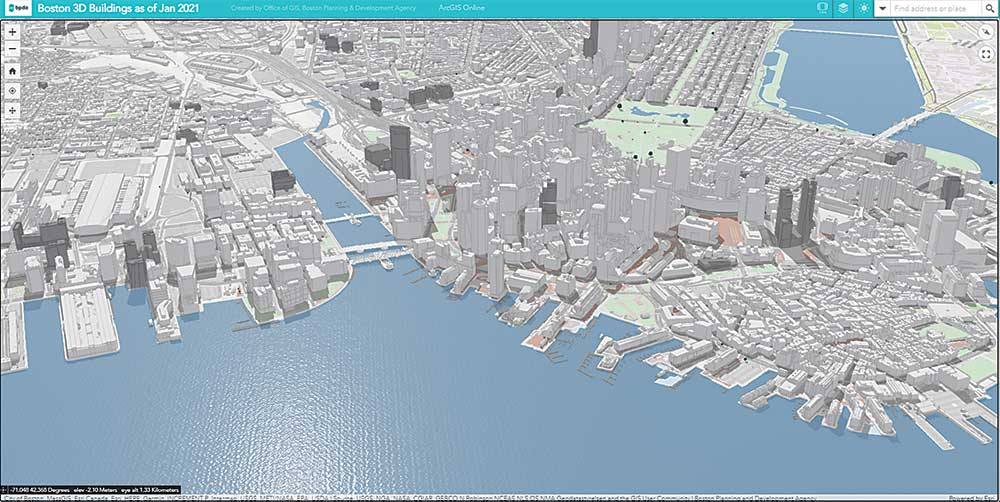 Boston's digital model expands beyond the reach of the city's wooden model and is especially helpful in neighborhoods beyond downtown. Image courtesy Boston Planning & Development Agency