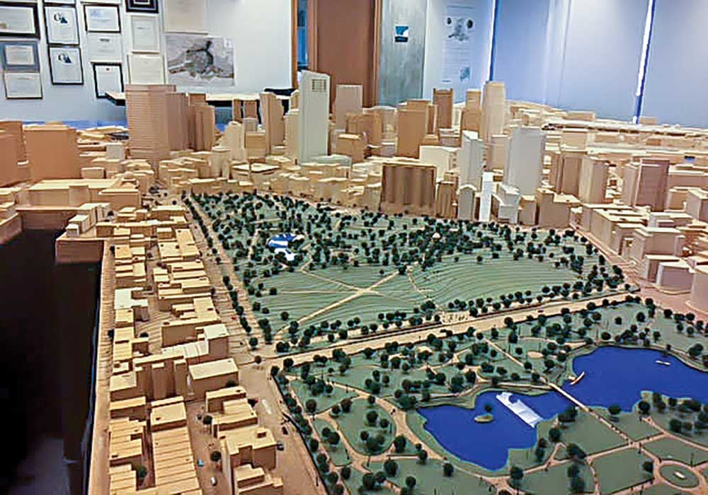 In the past, developers contributed a physical model of their project to the wooden model of downtown Boston. Now they also contribute a digital model. Photo courtesy BPDA