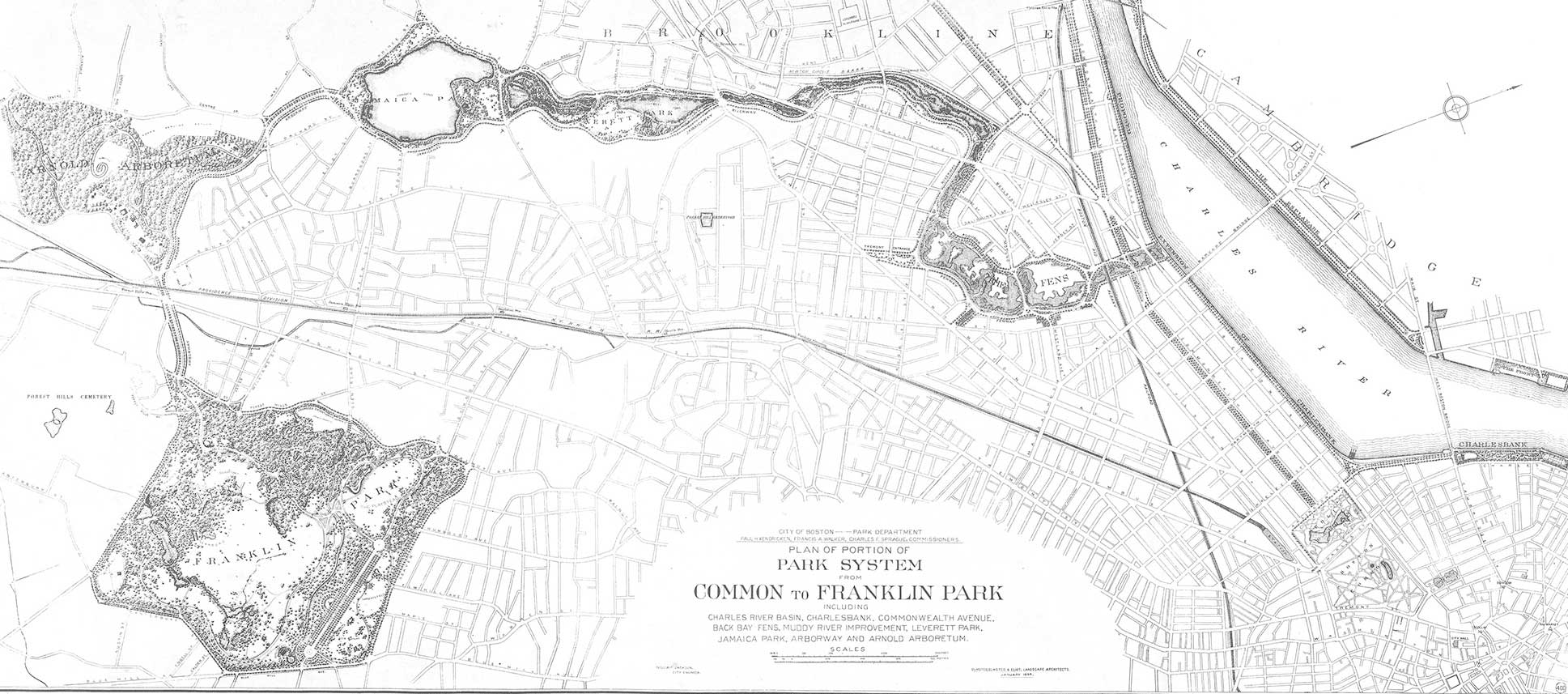 Decades in the making, Frederick Law Olmsted created the Emerald Necklace by transforming a sewage-clogged swamp into parkland, creating serene landscapes around ponds and converting carriage routes to tree-lined parkways. 1894 map: Courtesy National Park Service/Olmsted Archives.