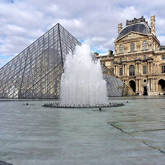 Pei-designed Louve Pyramid. Photo by lucamato/iStock Editorial/Getty Images Plus.