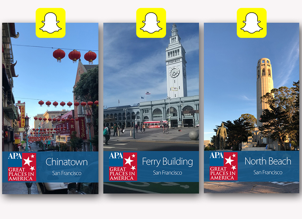 image of the three Great Places in America Snapchat filters used in San Francisco during NPC19