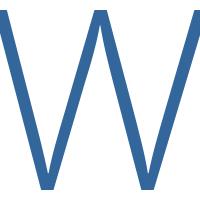 Uppercase blue letter W.