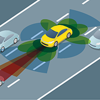 An illustration of an autonomous vehicle sensing surrounding vehicles.