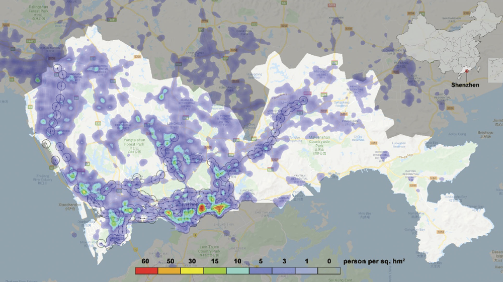 "A sample of Baidu heat maps for Shenzhen. From ""Using Big and Open Data to Analyze Transit-Oriented Development,"" Journal of the American Planning Association (Vol. 86, No. 3)."