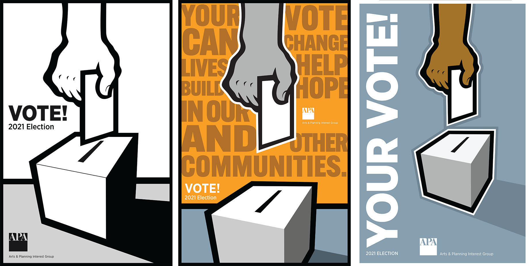Moore created the following images to help encourage participation in the 2021 APA leadership elections.