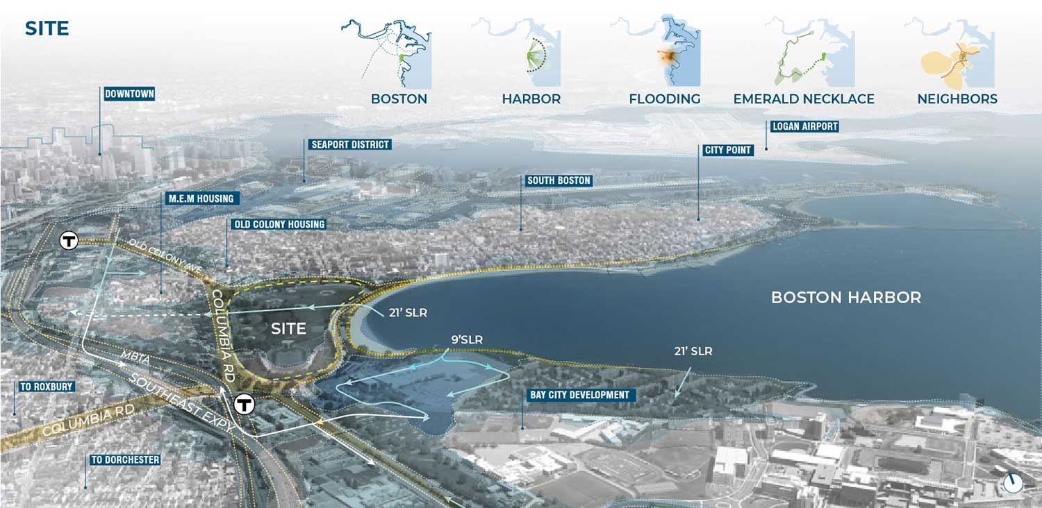 Moakley Park within its urban and waterfront context, highlighting projected coastal inundation to the park and adjacent neighborhoods. Image copyright Stoss Inc.