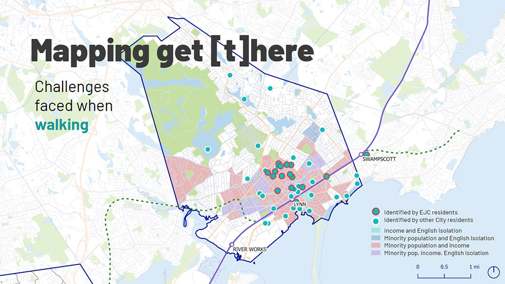 A series of maps show the different experiences of residents of EJCs and those of other neighborhoods. Courtesy of get [t]here.