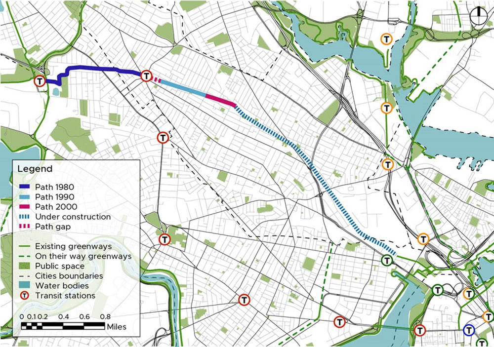 Map of the Alewife Linear Park and Somerville Community Path in context. Credit María de la Luz Lobos 2021.