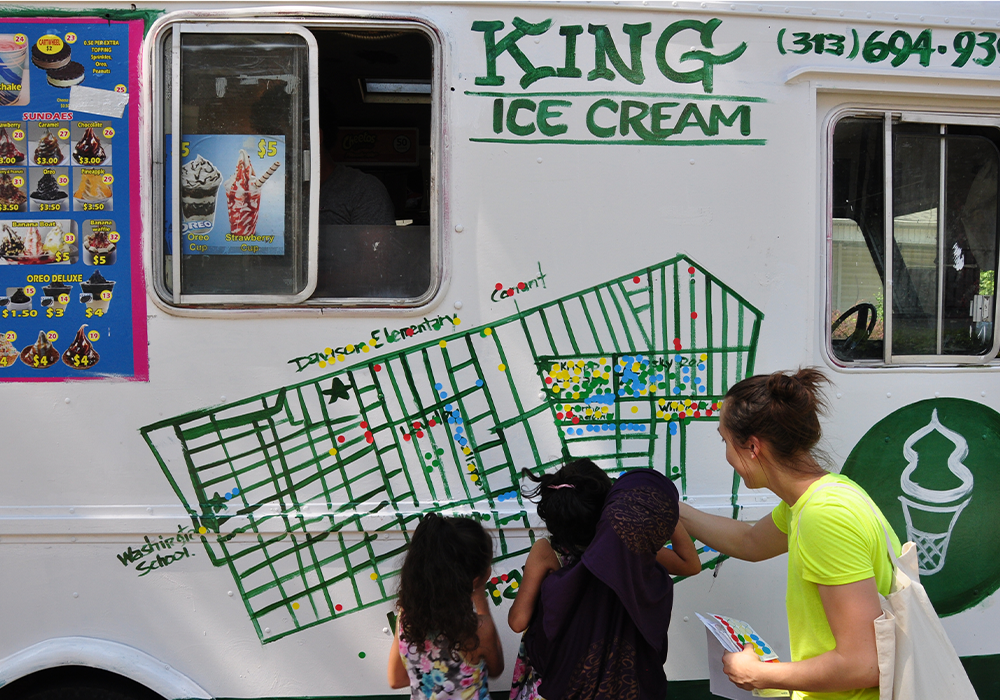 Interboro worked with a local ice cream entrepreneur, roaming the neighborhood and trading free cones for conversations with community members who could not attend formal planning meetings. Photo Credit: Interboro Partners