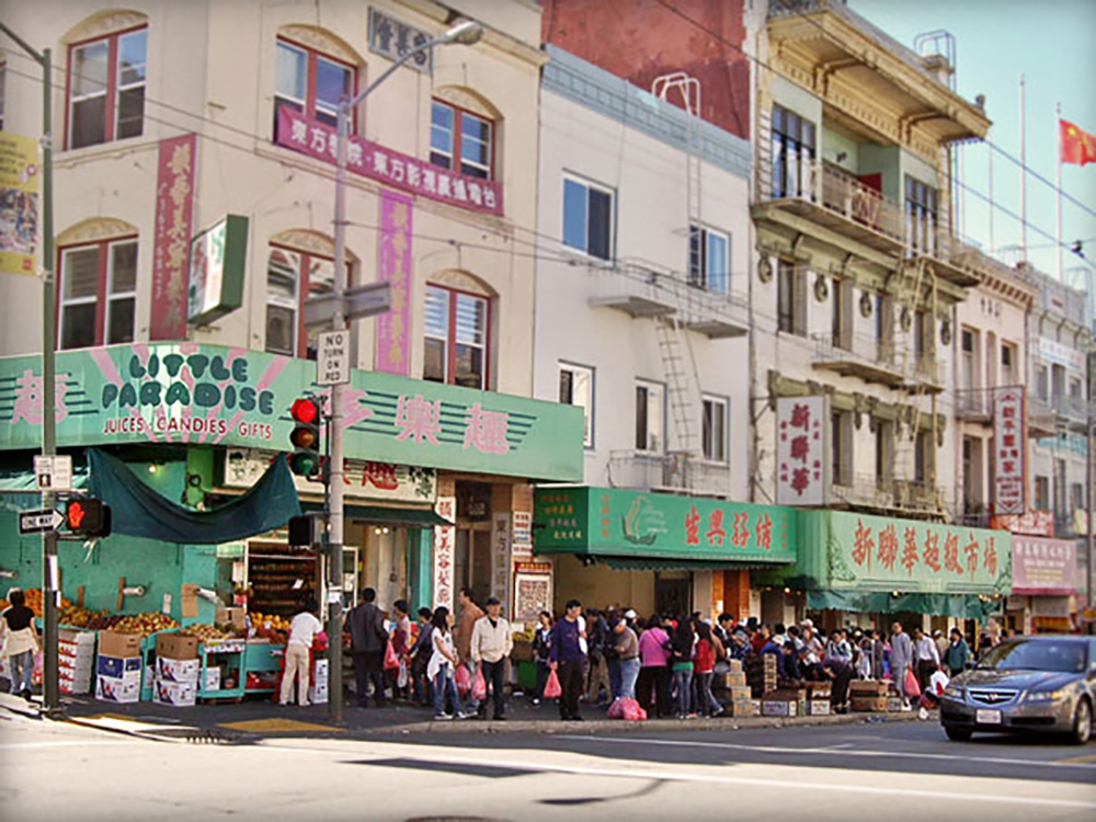 Stockton Street is one of Chinatown's busiest and most vibrant streets, and is home to several Asian companies such as the Hop Hing Ginseng Company and the Kowloon Market. Photo courtesy Chinatown CDC.