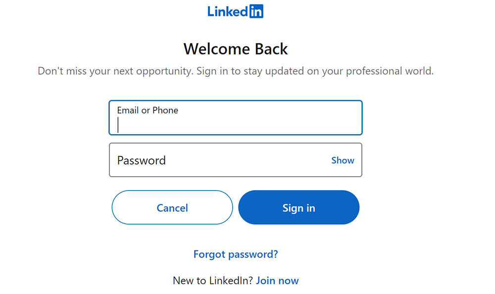 Screenshot of logging in to LinkedIn from the Acclaim platform to connect accounts.