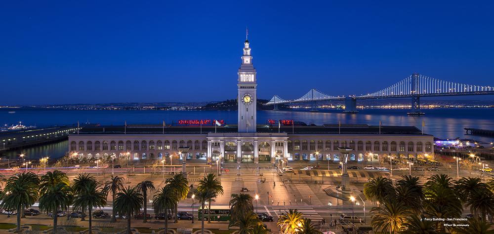Ferry Building in San Francisco at night. Photo: David Yu (CC BY-NC-ND 2.0).