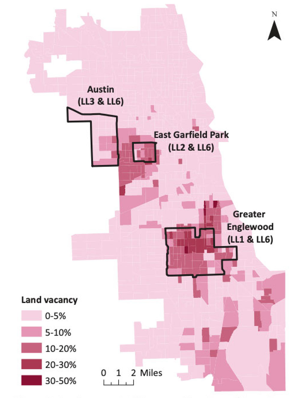 """Land vacancy in Chicago and the areas chosen for the study. From """"Chicago Sells Vacant Parcels For $1 and Nets Crime Reduction"""" in the Journal of the American Planning Association (Vol. 87, No. 2)."""