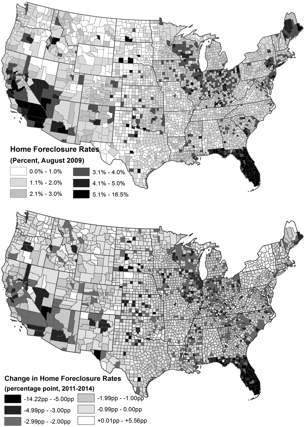 Geographical distribution of county-level home foreclosure rates in August 2009 and (bottom) changes in county-level home foreclosure rates between August 2011 and August 2014. Source: County-level foreclosure data from Black Knight (formerly LPS Applied Analytics). From ''Neighborhood Affordability and Housing Market Resilience,'' in Journal of the American Planning Association (Vol. 85, No. 4).