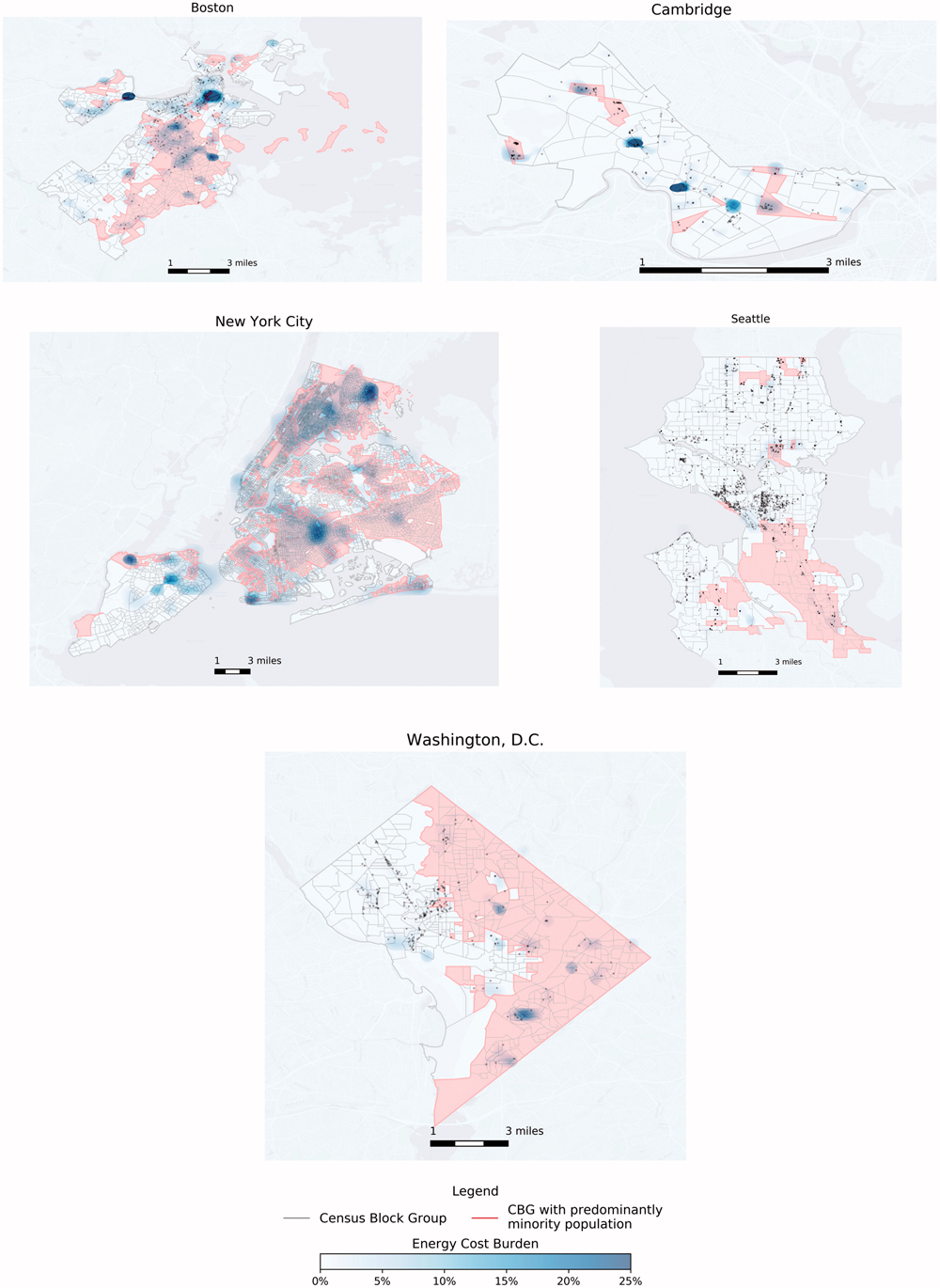 "Spatial dispersion of energy cost burdens (blue heat map), properties (in black), and neighborhood classification (predominantly minority census block groups in red) in selected cities, 2015. Figure 3 from the article ""Energy Cost Burdens for Low-Income and Minority Households"" in the Journal of the American Planning Association (Vol. 86, No. 1)."