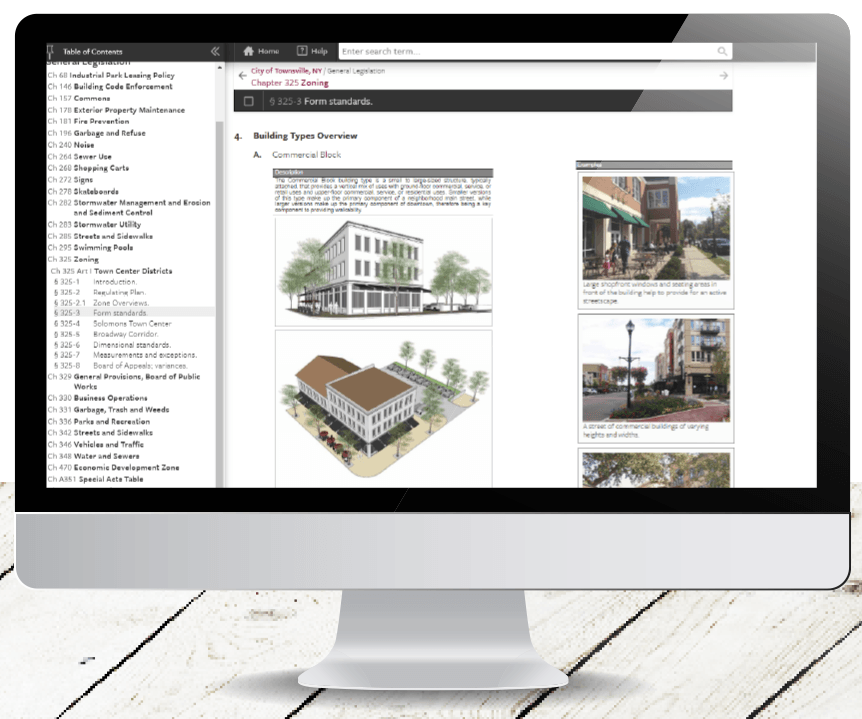 Enhanced Graphics lets you optimize the presentation of your zoning code in print and online media without compromising the original planning document's design. Photo courtesy General Code.