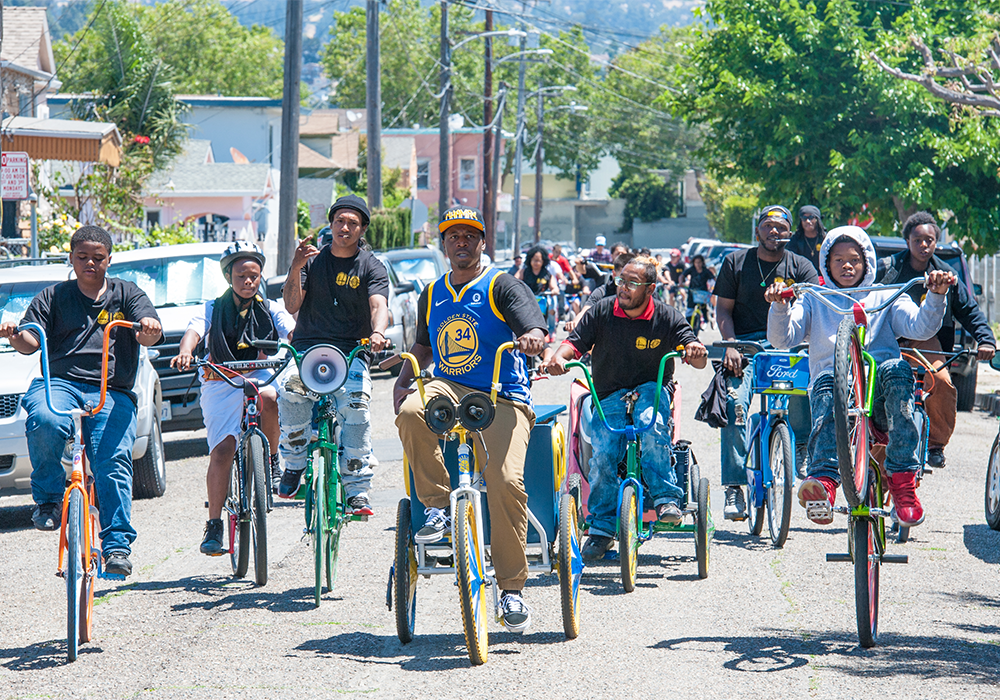 The Scraper Bike Team was a key community partner in the development of Let's Bike Oakland and have since collaborated with the City on the East Oakland Mobility Action Plan. Photo Credit: Oakland Department of Transportation