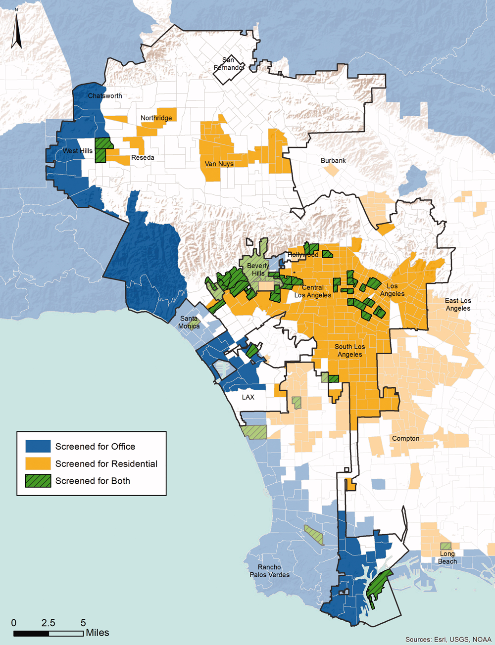 "Low-VMT transportation analysis zones meeting map-based screening thresholds for office and residential projects. Figure 3 from ""Streamlining the Development Approval Process in a Post-Level of Service Los Angeles."" JAPA Vol. 85, No. 2. Sources Esri, USGS, and NOAA."