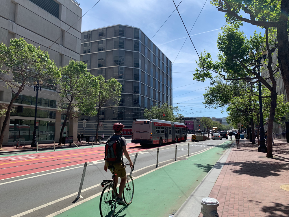 The Better Market Street project includes a full redesign of the city's central spine to provide dedicated lanes for buses, bikes, and vehicles. Photo by Lindsay Nieman.