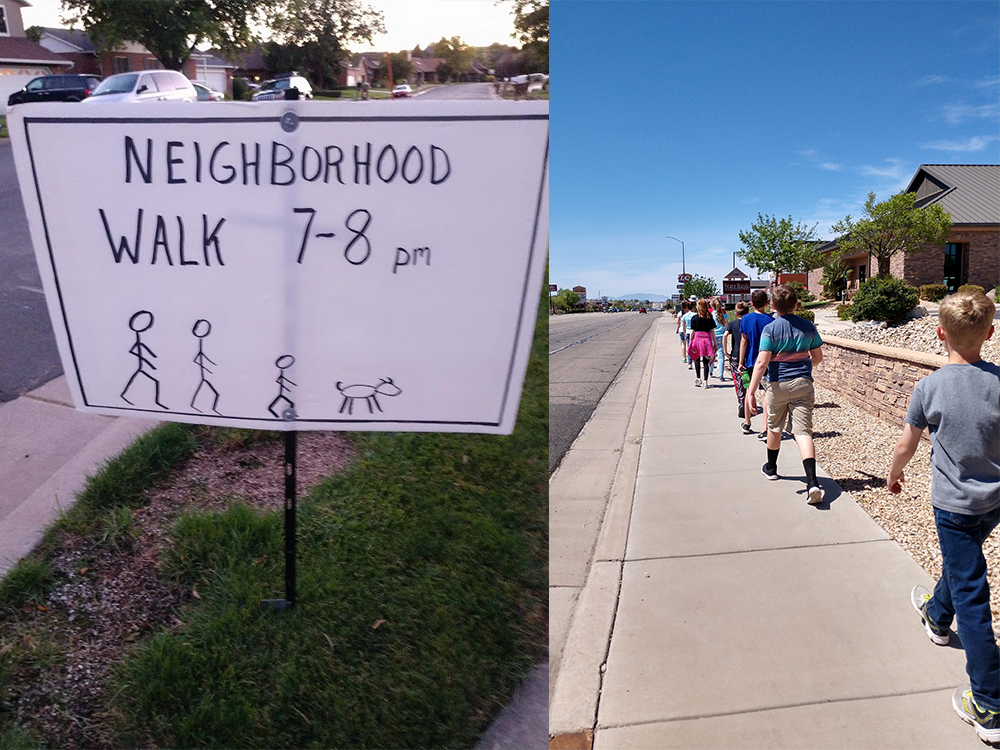 Neighborhood walk sign in Leyton, Utah, left, and children walking in Hurricane, Utah. Photos by Meagan Booth.