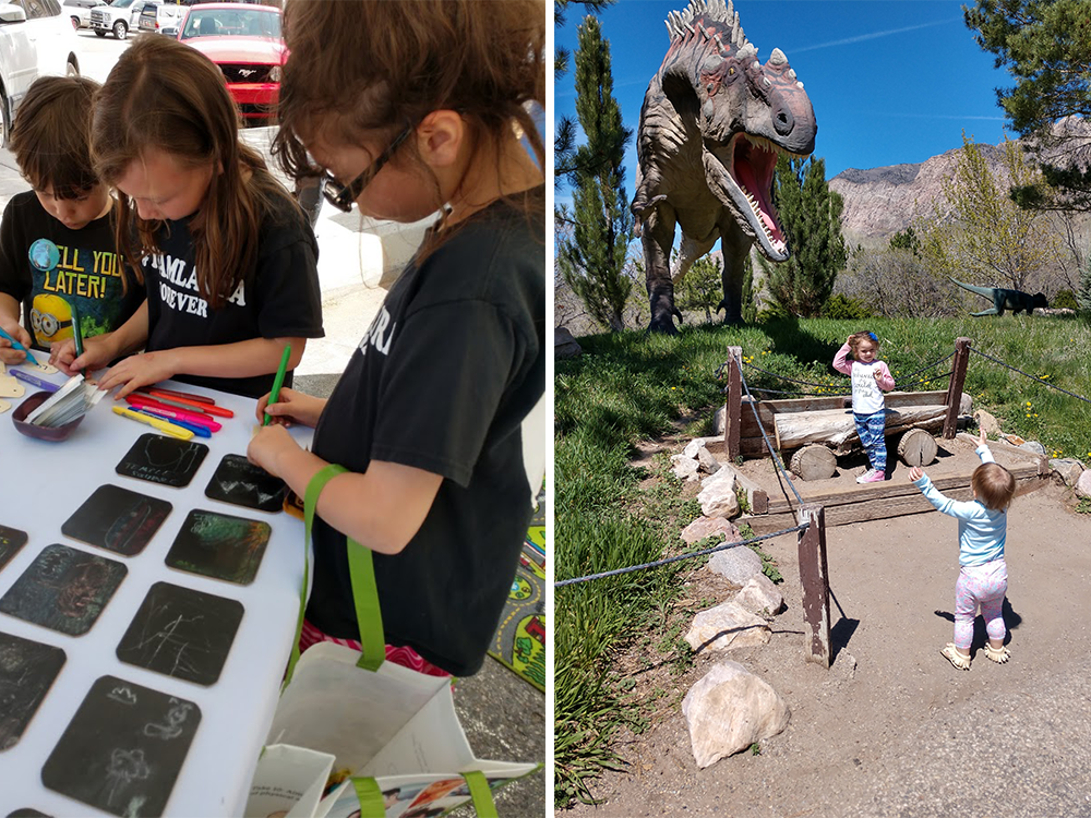 Open Streets 2017, Downtown Salt Lake City Utah, left, and Ogden's George S. Eccles Dinosaur Park. Photos by Meagan Booth.