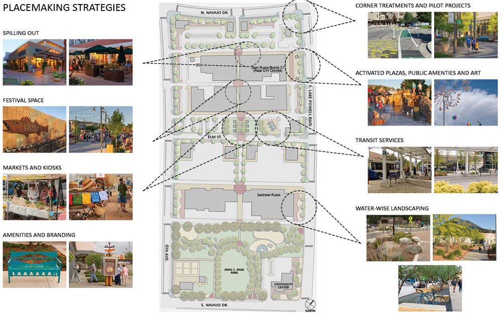Placemaking strategies developed by the Page, Arizona, CPAT team.