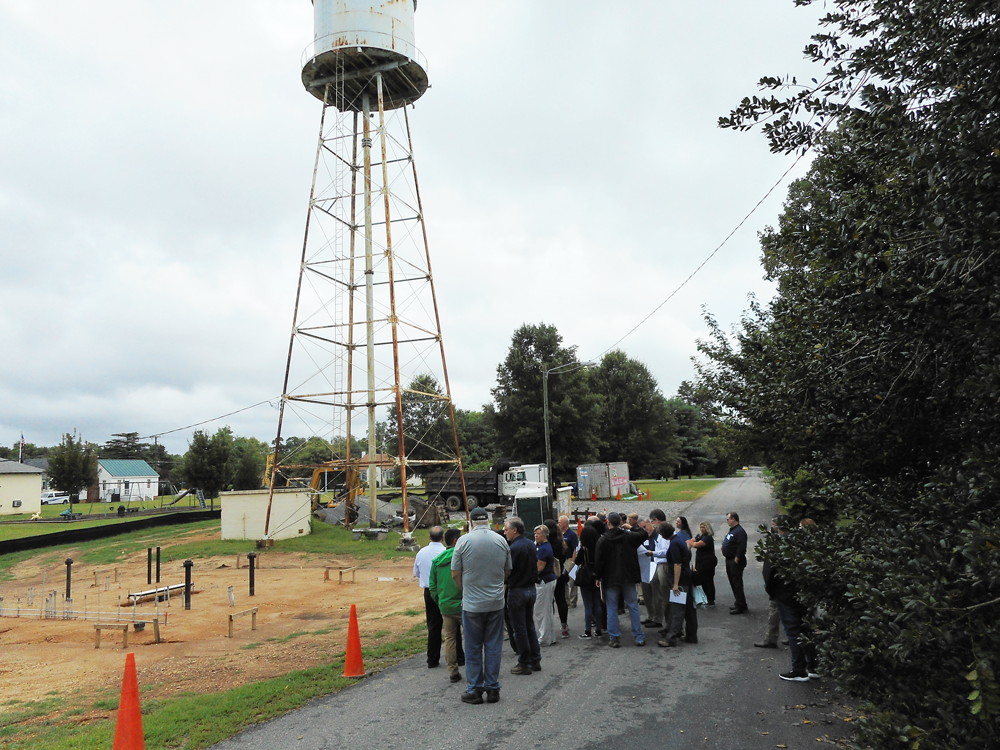 A site visit to Port Royal, Virginia, to see the rebuild of and repairs to the drinking water system, including the existing elevated storage tank. The 2018 visit was hosted by the Virginia Department of Health and Dewberry and included representatives from EPA, ASDWA, and other partner organizations. Photo courtesy ASDWA.