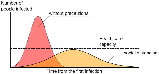 A sample epidemic curve, with and without social distancing. Image by Johannes Kalliauer (CC BY-SA 4.0).