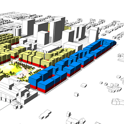 3-D model of potential new development