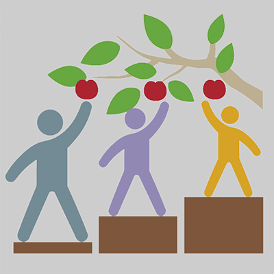 An illustration of three people of different heights standing on platforms of different heights that help each of them reach an apple.