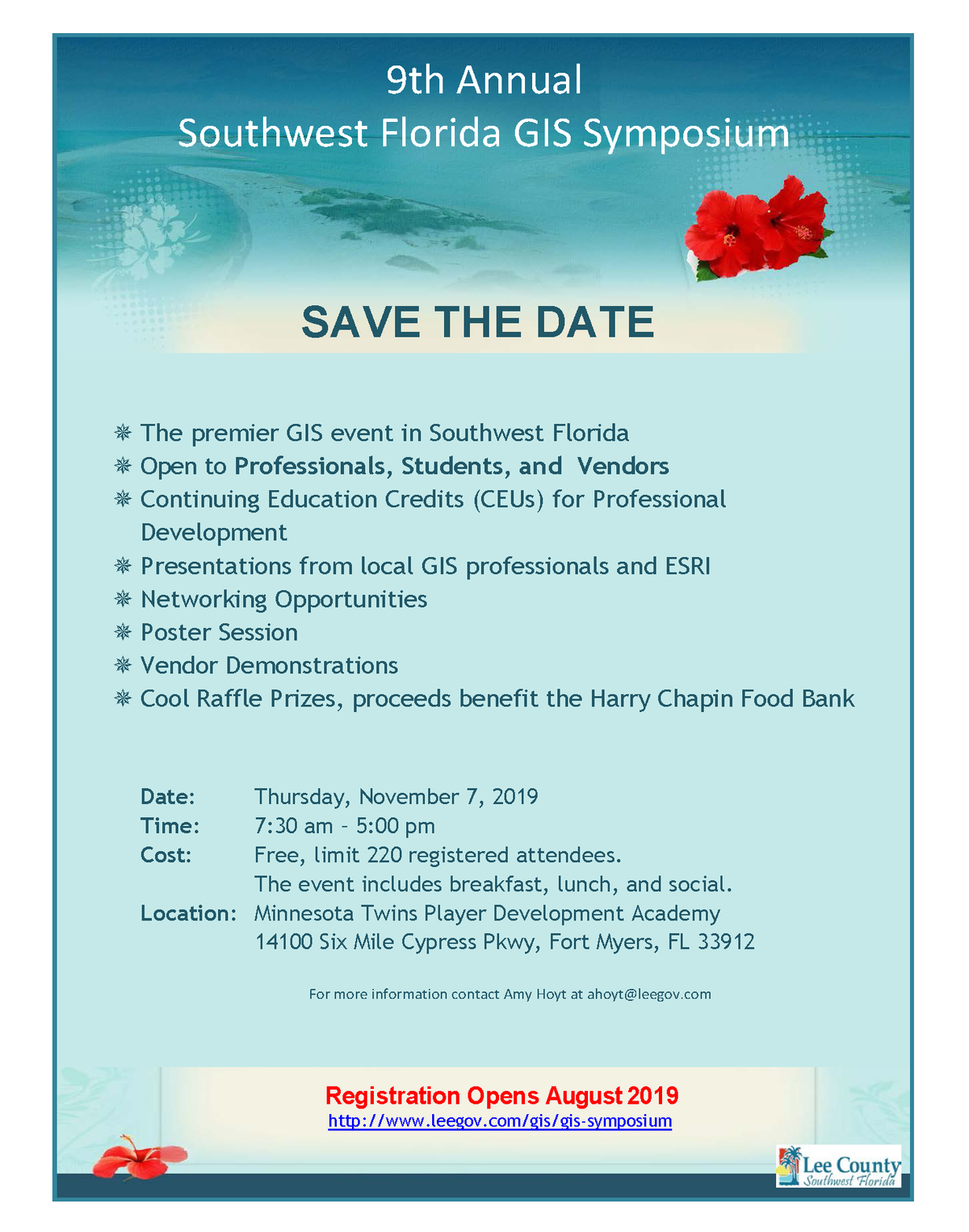 2019 SWFL GIS symposium save the date flier