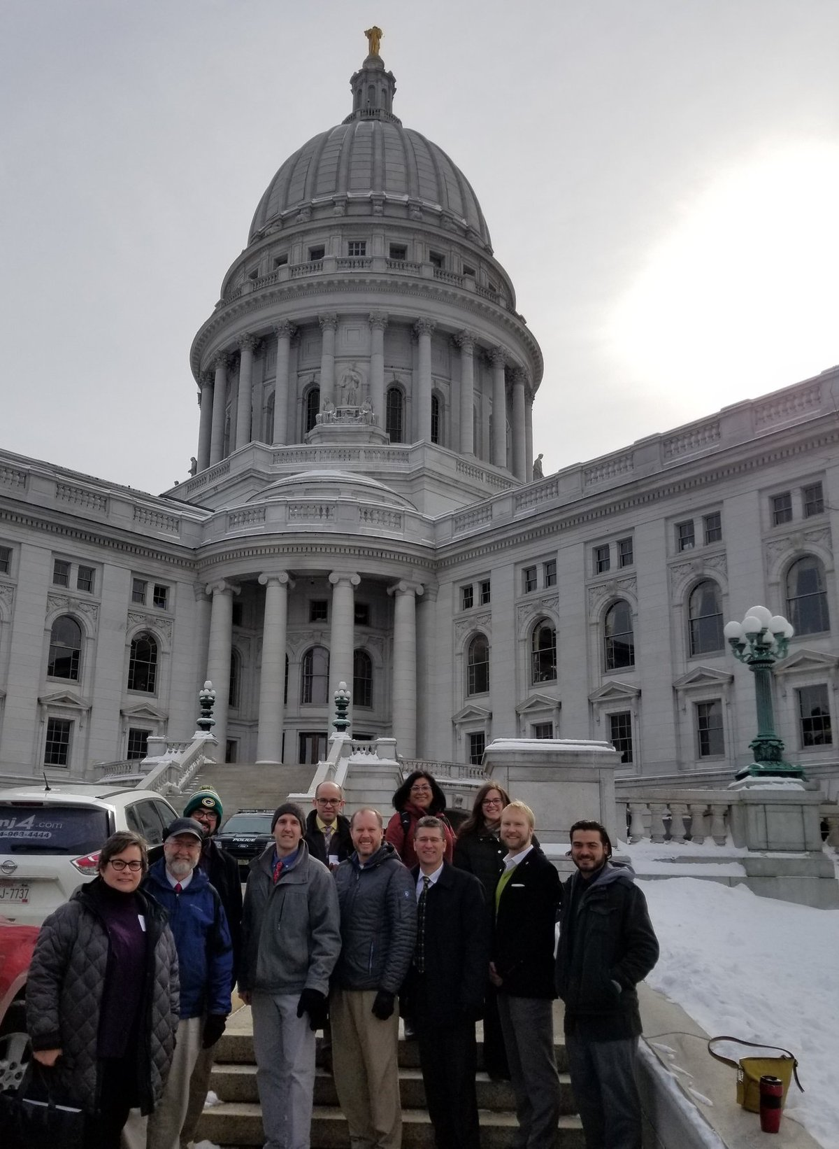 APA-WI planners on Planners Legislative Day, 2019, in from of the State Capitol