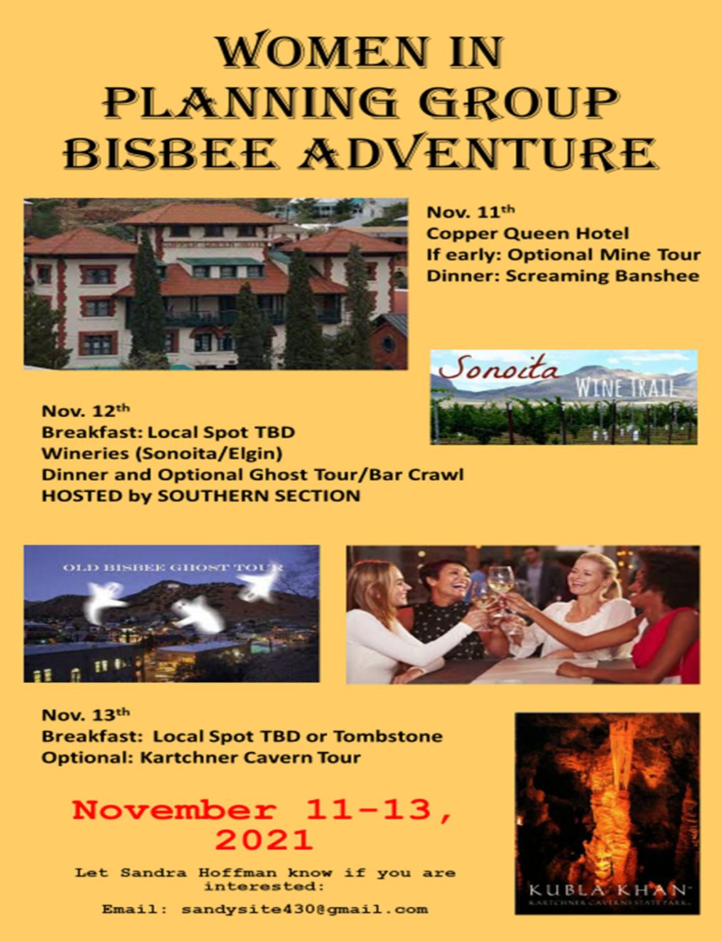 Everyone is invited to join the WPG in Bisbee November 11 - 13, 2021!!