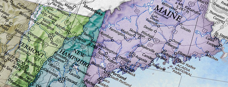 NNE Map of Maine, New Hampshire and Vermont