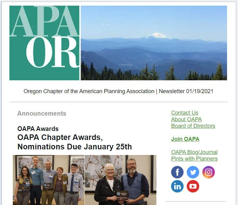 Example of a typical OAPA newsletter