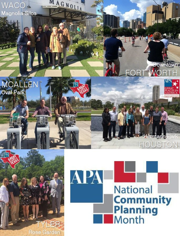 Collage of planners from various cities around Texas in celebration of NCPM 2018