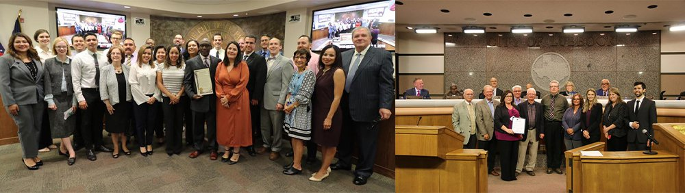 Two photos, elected officials from El Paso (left) and Lubbock (right).