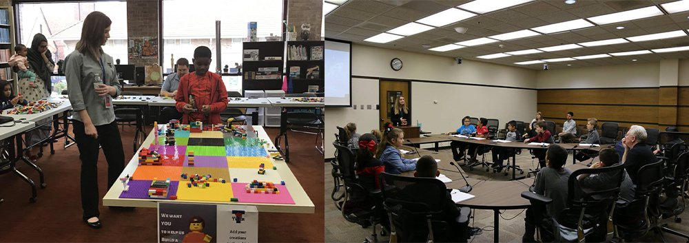Two photos, planners in youth event in Tyler (left) and in Lubbock (right).
