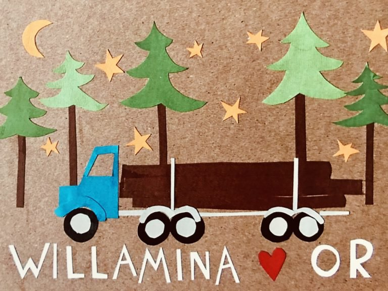 Artistic image for Willamina planning project depicting a log truck and forest