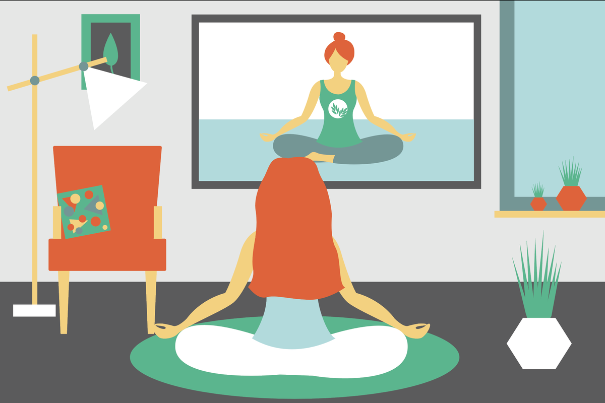 woman doing yoga via tv at home