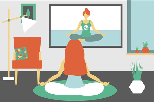 woman doing yoga via tv at home