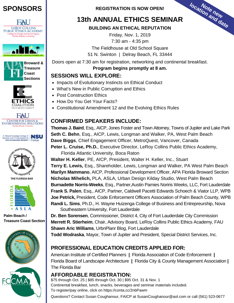 treasure coast section ethics seminar flier