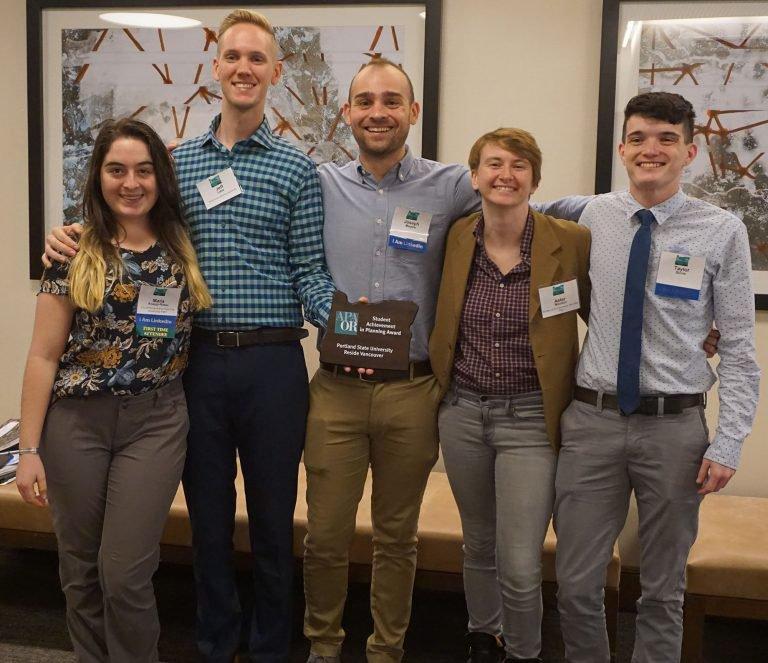 PSU students receiving an OAPA planning award in 2019