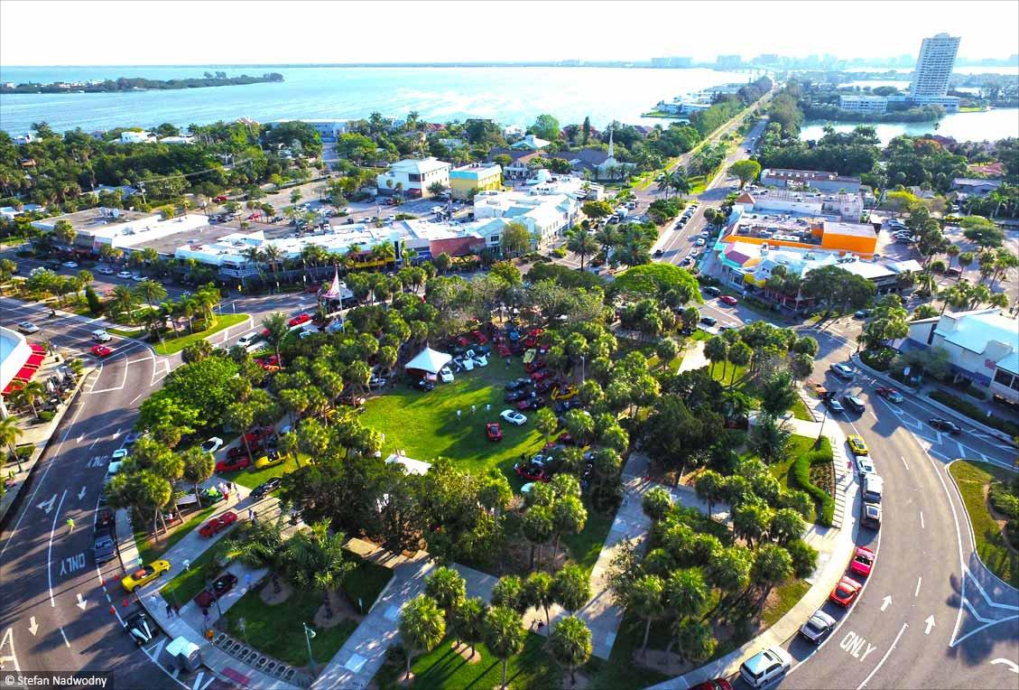 St. Armands Circle Sarasota - aerial lido key